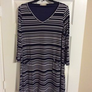 Navy/White Striped Dress with Pockets NWT